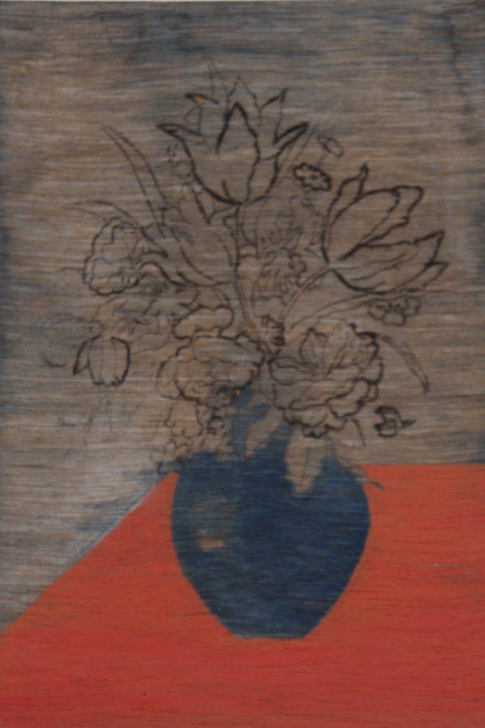 Bloemenvaas, 20 x 15 cm, mixed media.